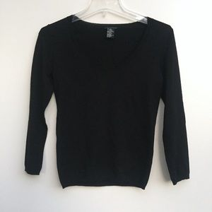 Theory V Neck Wool Pullover Sweater Black Petite